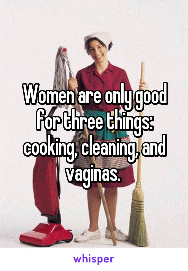 Women are only good for three things: cooking, cleaning, and vaginas.