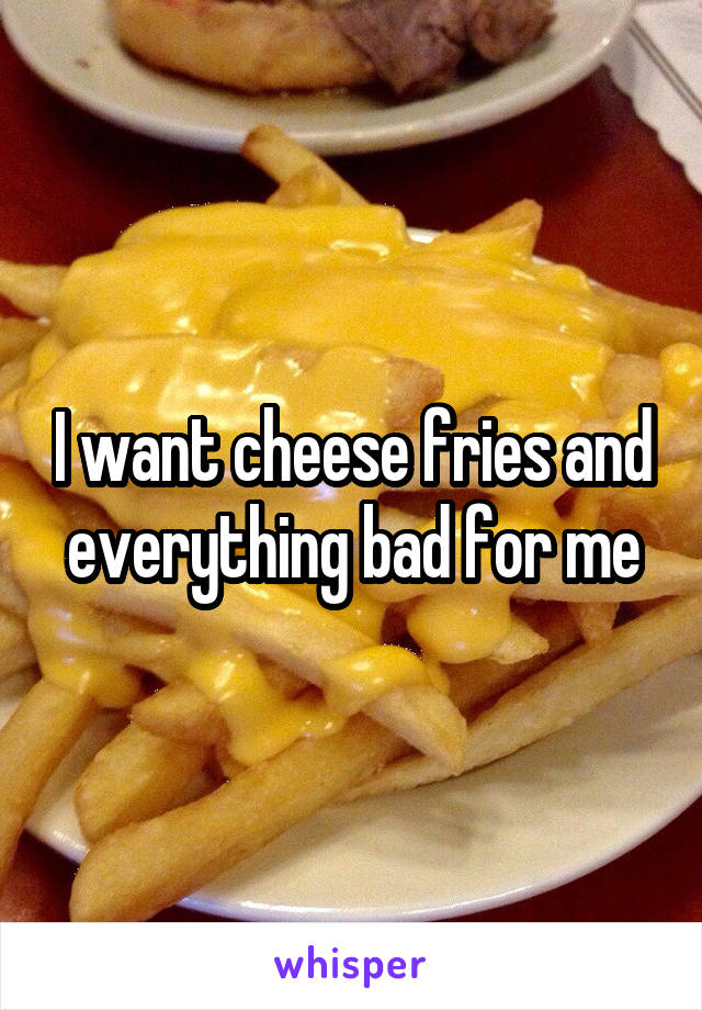 I want cheese fries and everything bad for me