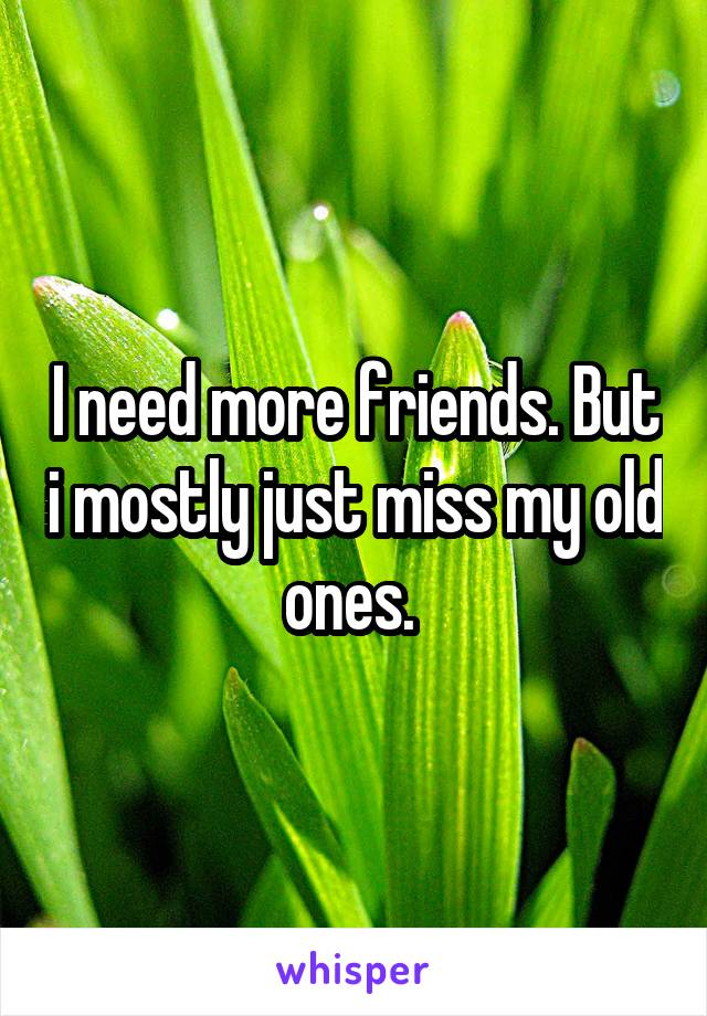 I need more friends. But i mostly just miss my old ones.
