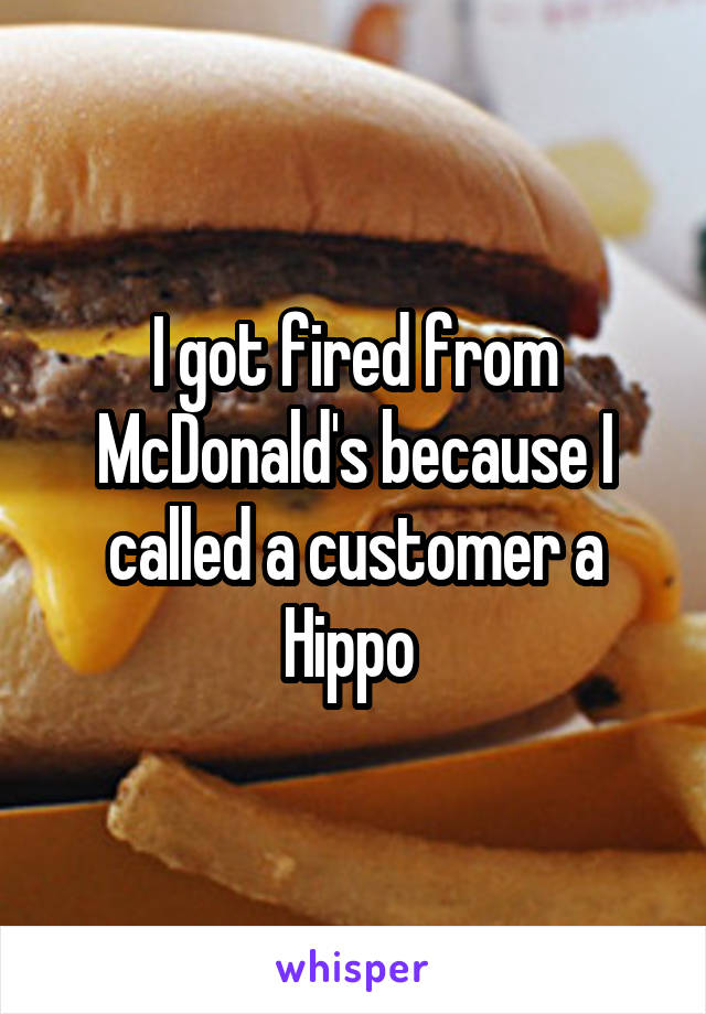 I got fired from McDonald's because I called a customer a Hippo