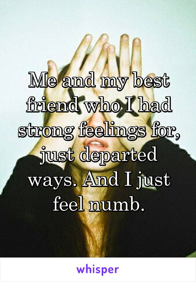 Me and my best friend who I had strong feelings for, just departed ways. And I just feel numb.