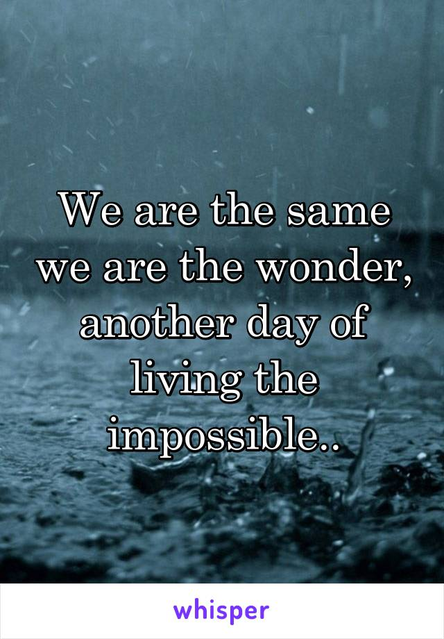 We are the same we are the wonder, another day of living the impossible..