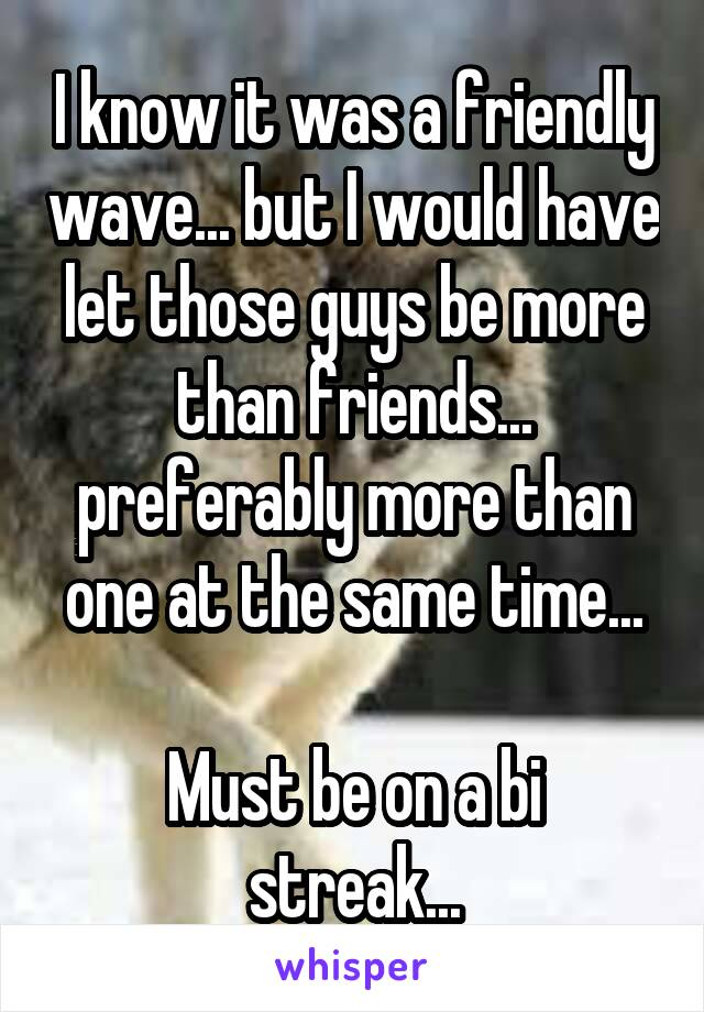 I know it was a friendly wave... but I would have let those guys be more than friends... preferably more than one at the same time...  Must be on a bi streak...