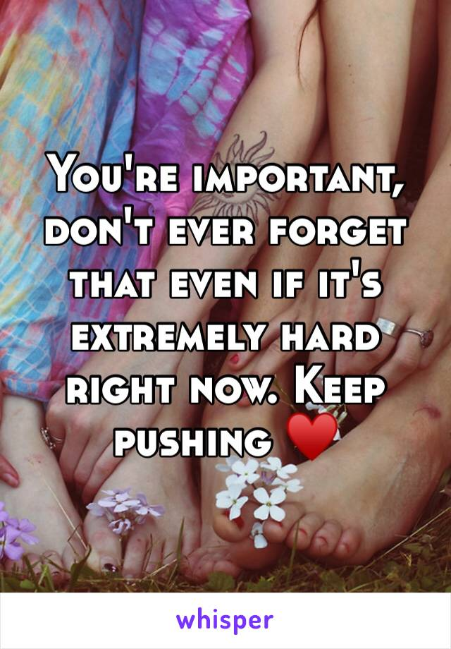 You're important, don't ever forget that even if it's extremely hard right now. Keep pushing ♥️
