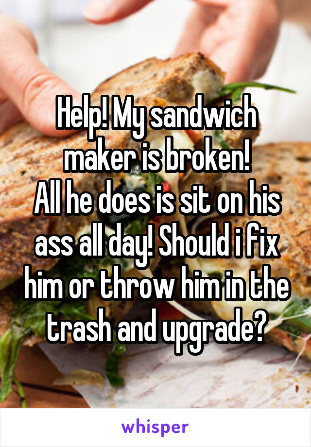 Help! My sandwich maker is broken! All he does is sit on his ass all day! Should i fix him or throw him in the trash and upgrade?
