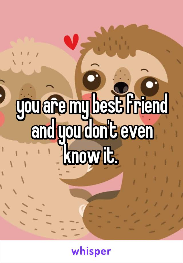 you are my best friend and you don't even know it.