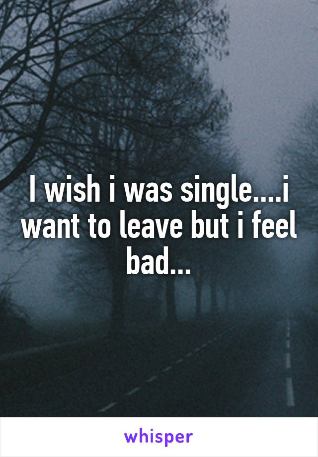 I wish i was single....i want to leave but i feel bad...