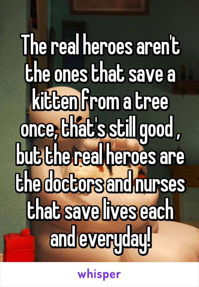 The real heroes aren't the ones that save a kitten from a tree once, that's still good , but the real heroes are the doctors and nurses that save lives each and everyday!