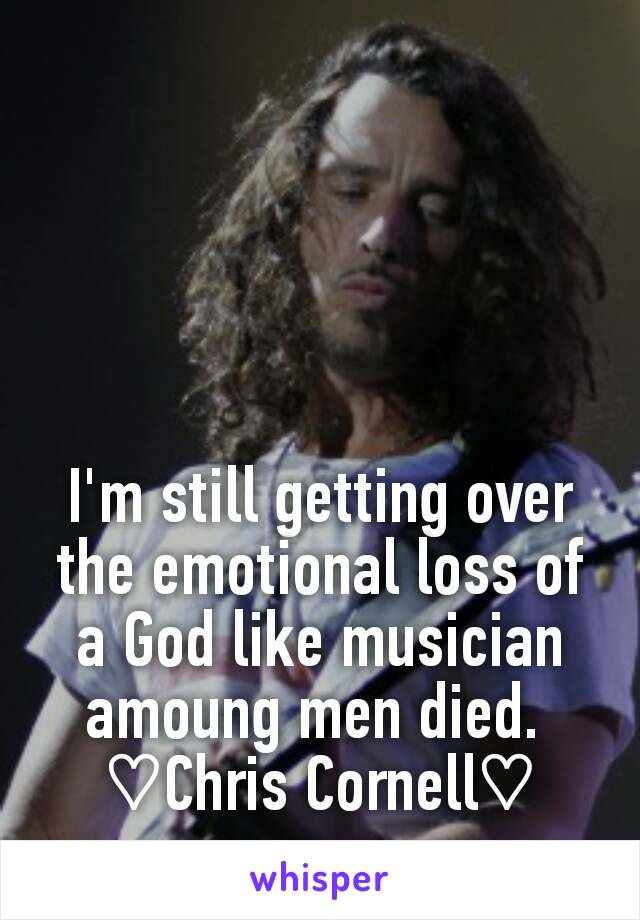 I'm still getting over the emotional loss of a God like musician amoung men died.  ♡Chris Cornell♡