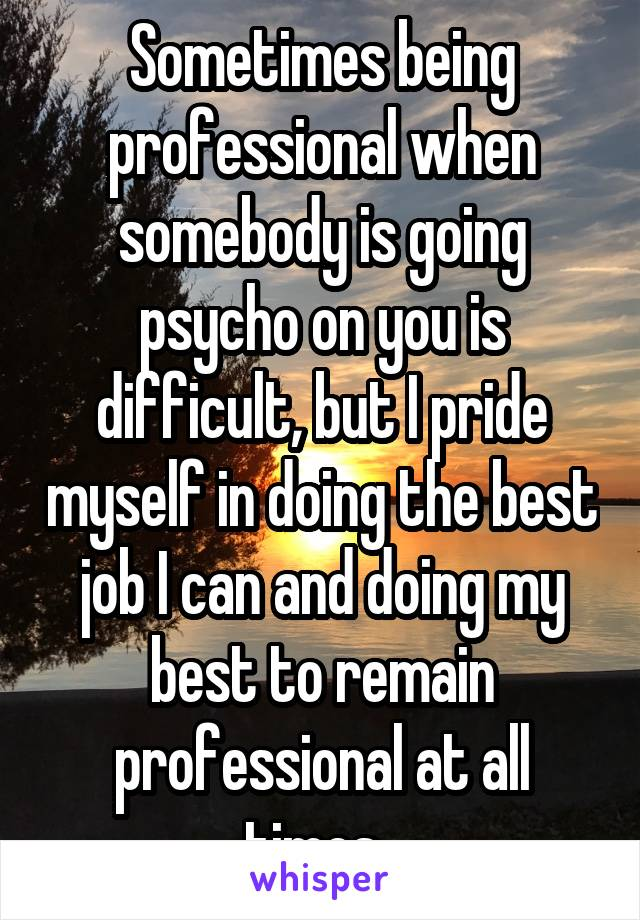 Sometimes being professional when somebody is going psycho on you is difficult, but I pride myself in doing the best job I can and doing my best to remain professional at all times.