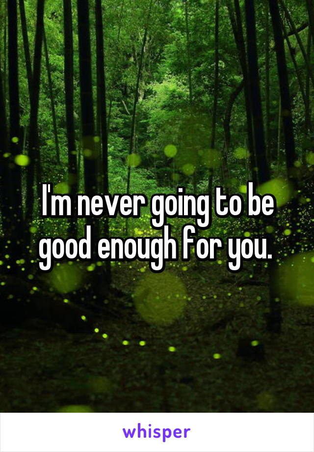 I'm never going to be good enough for you.