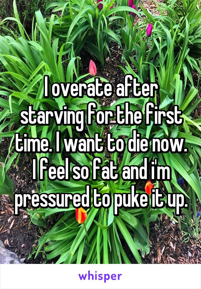 I overate after starving for the first time. I want to die now. I feel so fat and i'm pressured to puke it up.