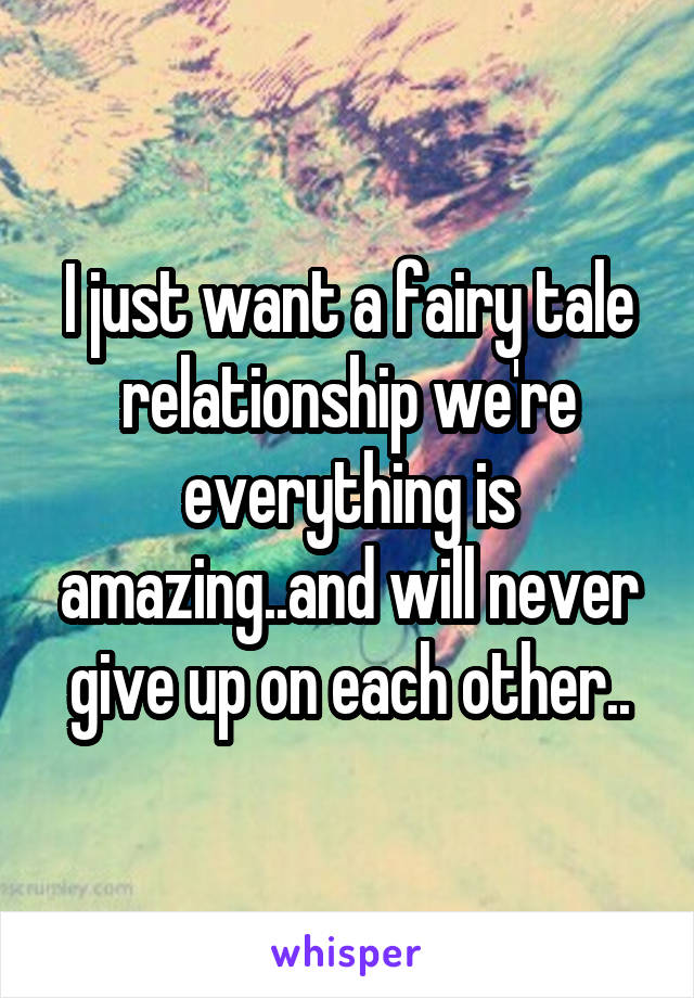 I just want a fairy tale relationship we're everything is amazing..and will never give up on each other..