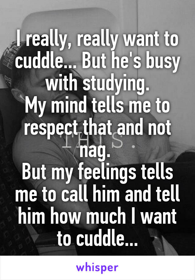 I really, really want to cuddle... But he's busy with studying. My mind tells me to respect that and not nag.  But my feelings tells me to call him and tell him how much I want to cuddle...