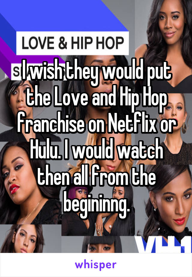 I wish they would put the Love and Hip Hop franchise on Netflix or Hulu. I would watch then all from the begininng.