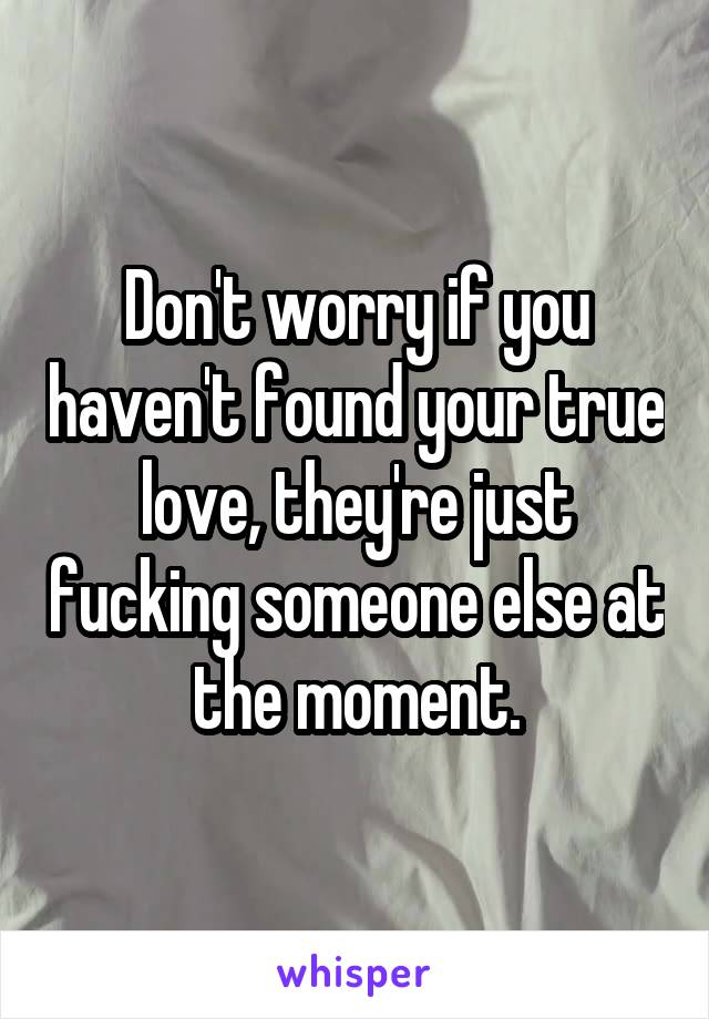 Don't worry if you haven't found your true love, they're just fucking someone else at the moment.