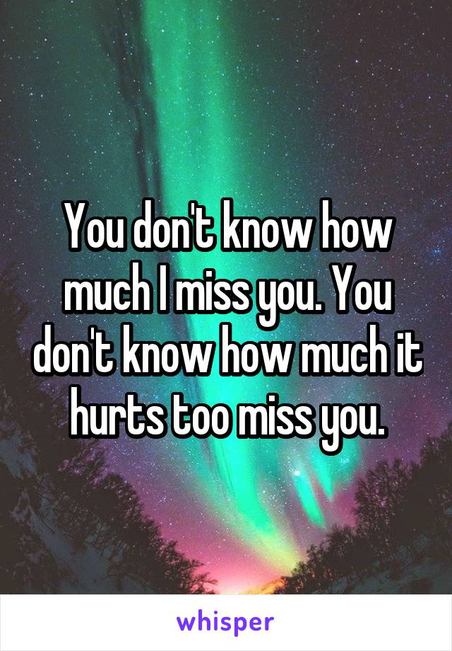 You don't know how much I miss you. You don't know how much it hurts too miss you.