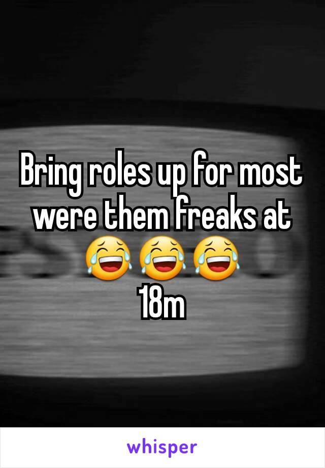Bring roles up for most were them freaks at 😂😂😂 18m