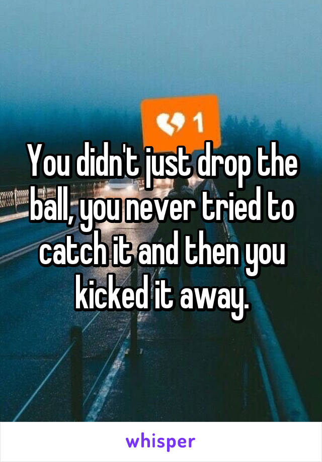 You didn't just drop the ball, you never tried to catch it and then you kicked it away.