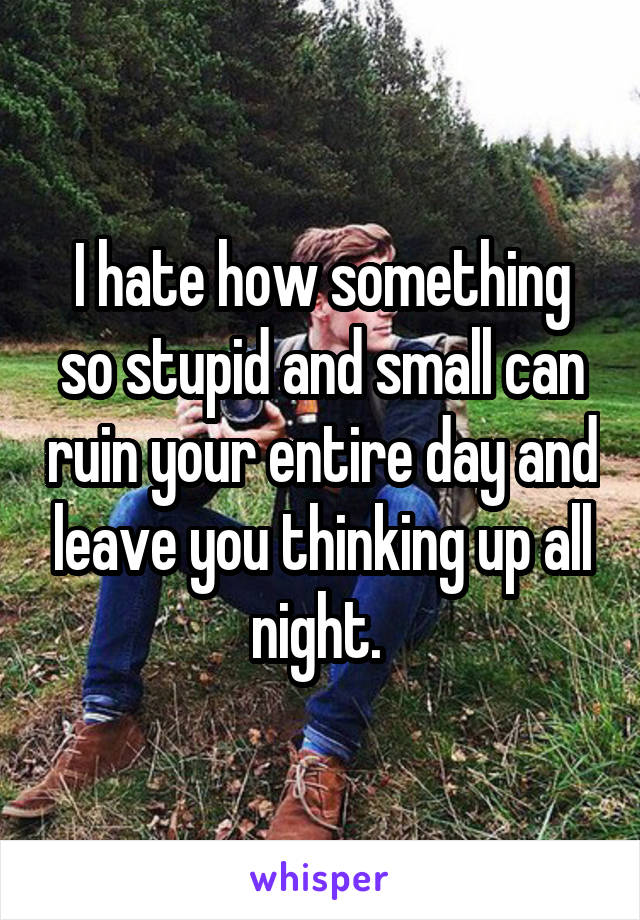 I hate how something so stupid and small can ruin your entire day and leave you thinking up all night.