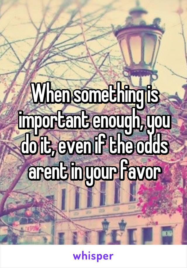 When something is important enough, you do it, even if the odds arent in your favor