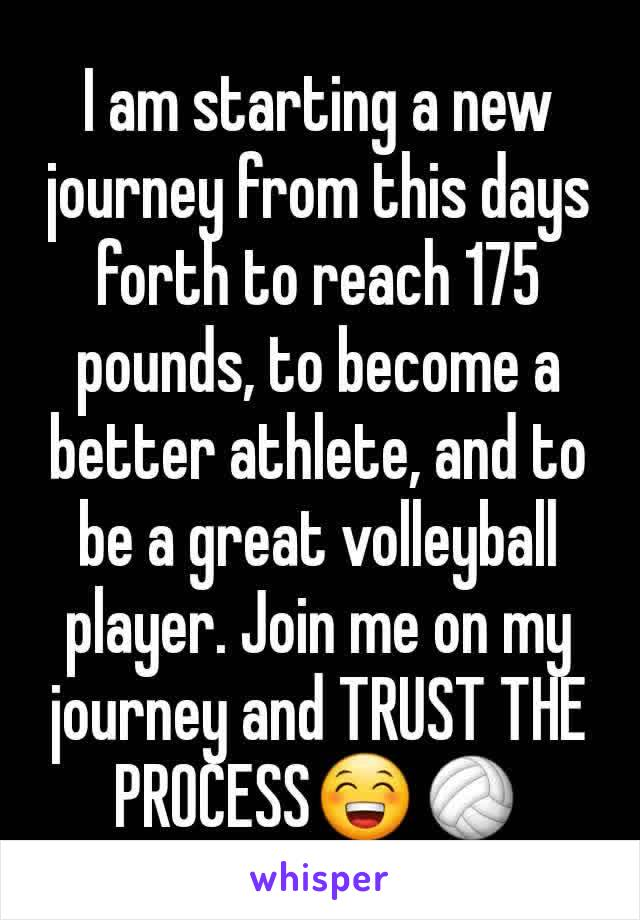 I am starting a new journey from this days forth to reach 175 pounds, to become a better athlete, and to be a great volleyball player. Join me on my journey and TRUST THE PROCESS😁🏐