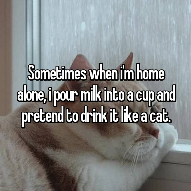 Sometimes when i'm home alone, i pour milk into a cup and pretend to drink it like a cat.