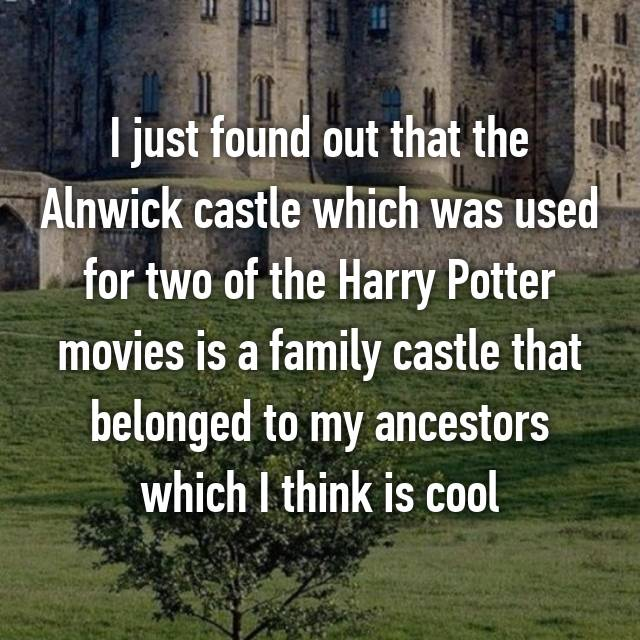 I just found out that the Alnwick castle which was used for two of the Harry Potter movies is a family castle that belonged to my ancestors which I think is cool