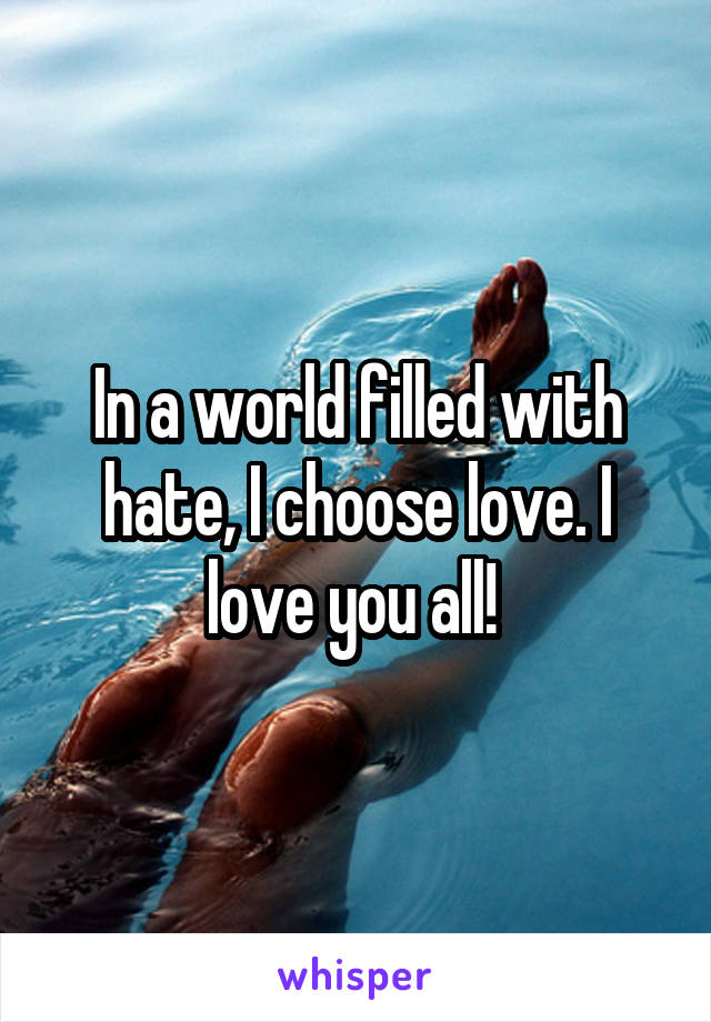 In a world filled with hate, I choose love. I love you all!