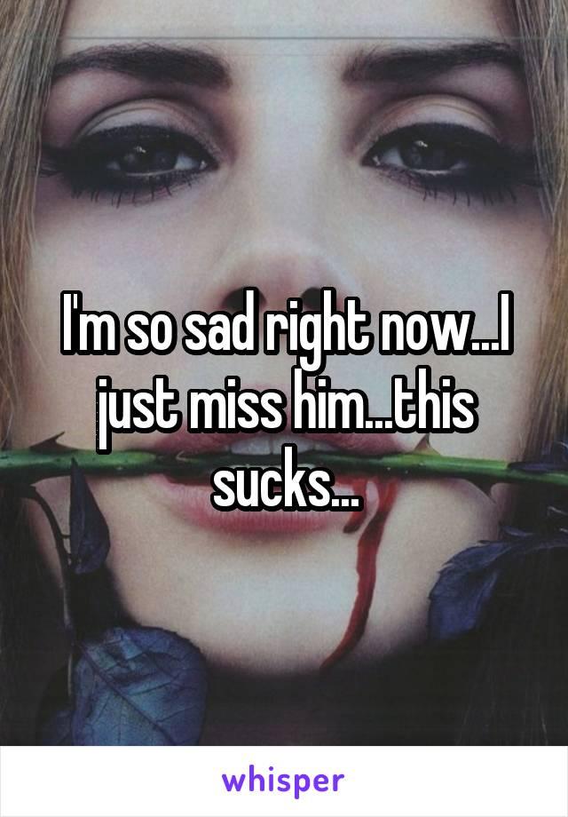 I'm so sad right now...I just miss him...this sucks...