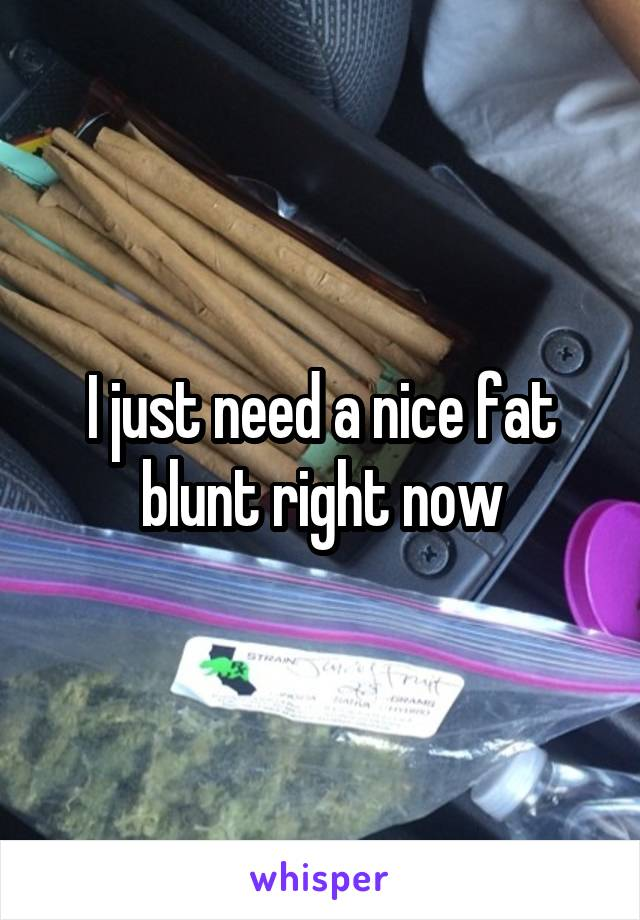 I just need a nice fat blunt right now
