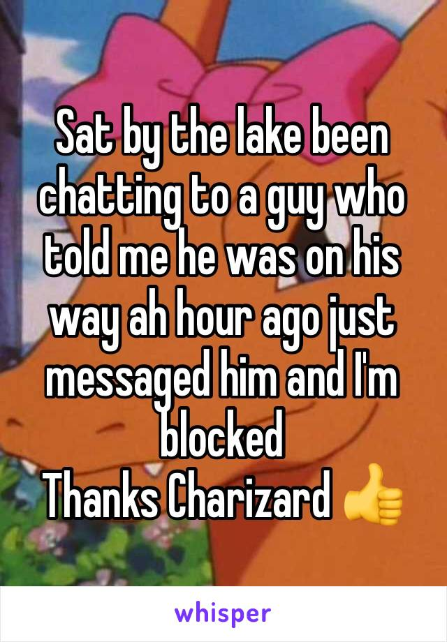Sat by the lake been chatting to a guy who told me he was on his way ah hour ago just messaged him and I'm blocked Thanks Charizard 👍