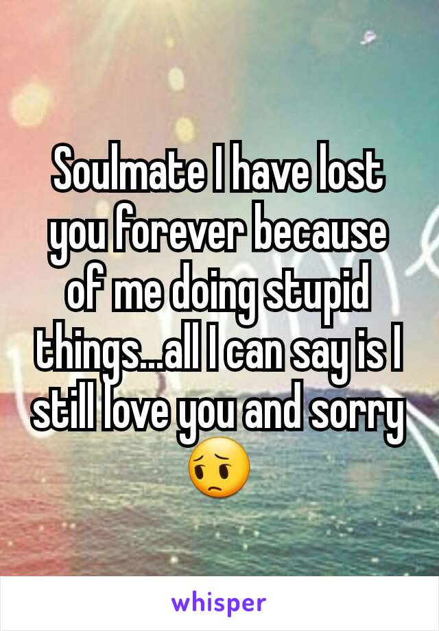 Soulmate I have lost you forever because of me doing stupid things...all I can say is I still love you and sorry 😔
