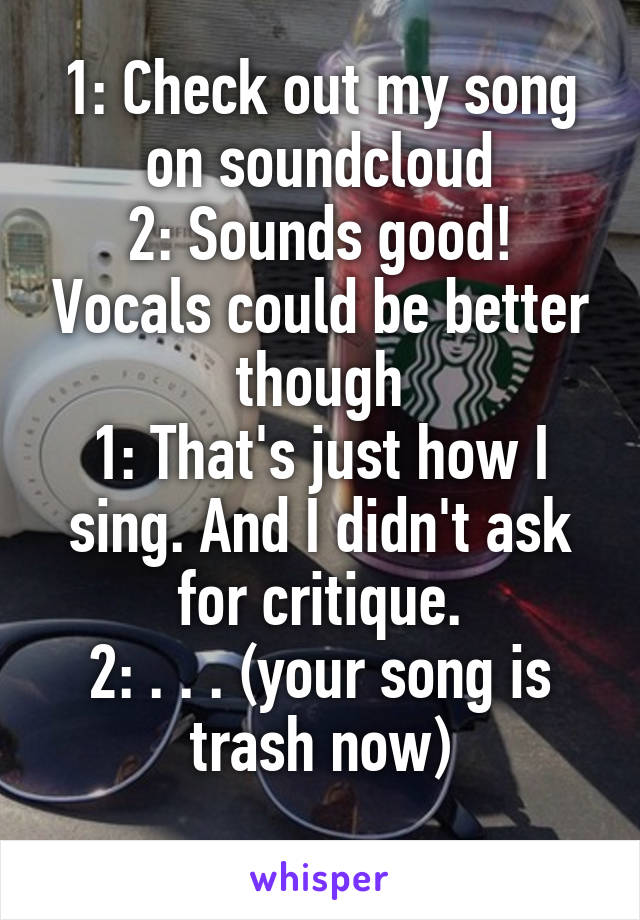 1: Check out my song on soundcloud 2: Sounds good! Vocals could be better though 1: That's just how I sing. And I didn't ask for critique. 2: . . . (your song is trash now)