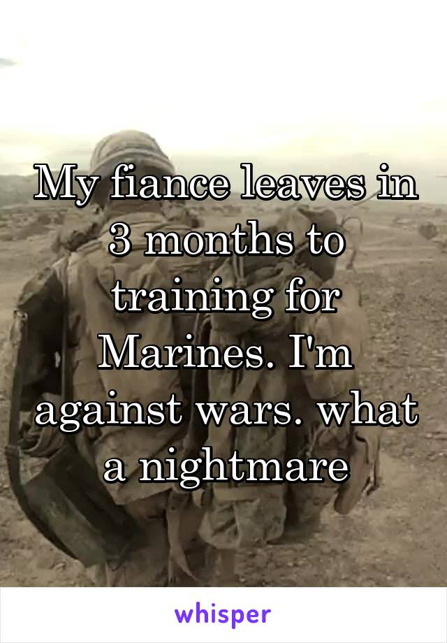 My fiance leaves in 3 months to training for Marines. I'm against wars. what a nightmare