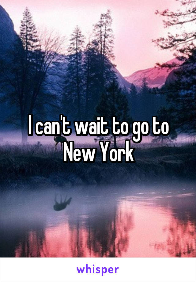 I can't wait to go to New York