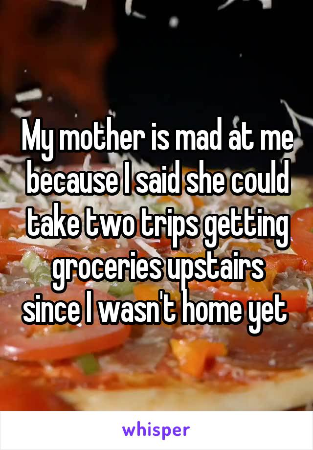 My mother is mad at me because I said she could take two trips getting groceries upstairs since I wasn't home yet
