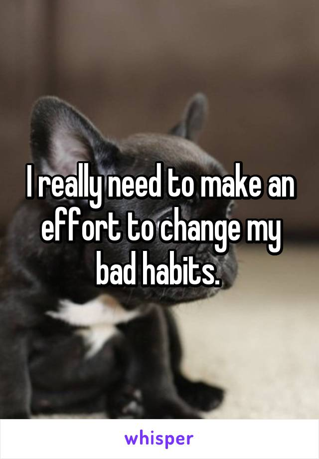 I really need to make an effort to change my bad habits.