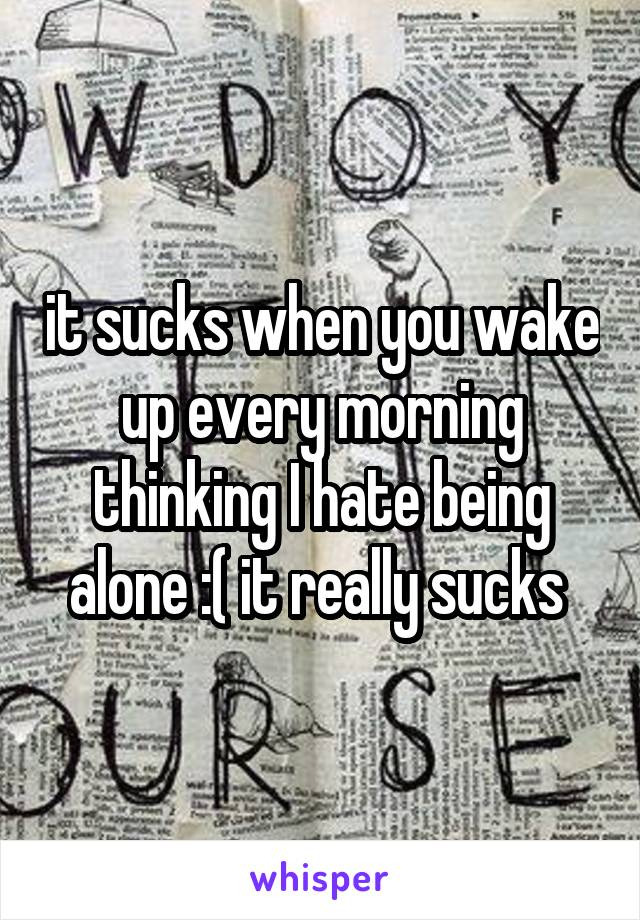 it sucks when you wake up every morning thinking I hate being alone :( it really sucks