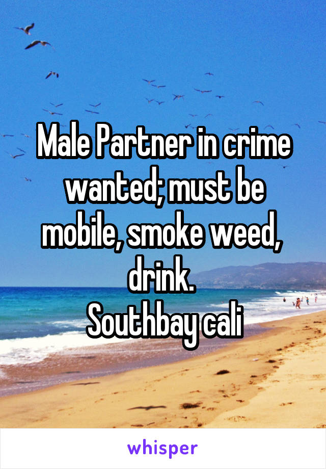 Male Partner in crime wanted; must be mobile, smoke weed,  drink.  Southbay cali