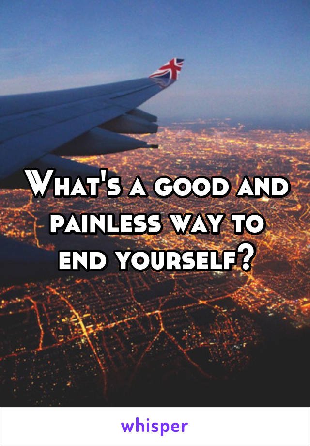 What's a good and painless way to end yourself?
