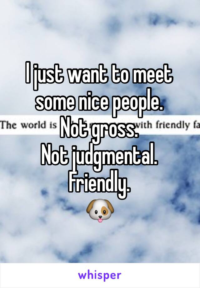 I just want to meet some nice people.  Not gross.  Not judgmental. Friendly. 🐶