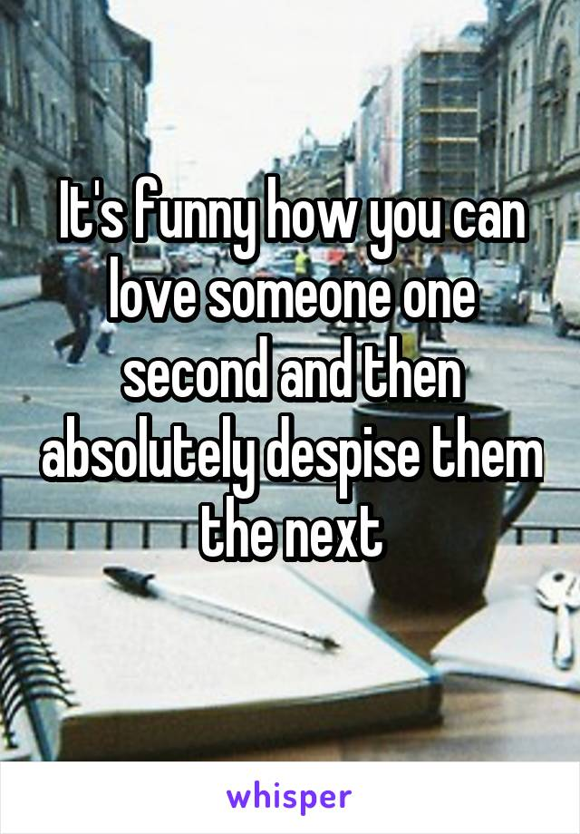 It's funny how you can love someone one second and then absolutely despise them the next
