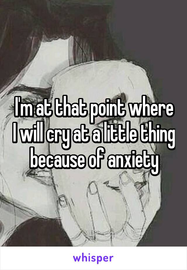 I'm at that point where I will cry at a little thing because of anxiety
