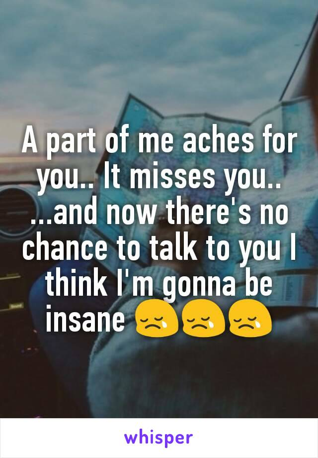 A part of me aches for you.. It misses you.. ...and now there's no chance to talk to you I think I'm gonna be insane 😢😢😢