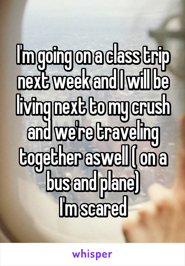 I'm going on a class trip next week and I will be living next to my crush and we're traveling together aswell ( on a bus and plane) I'm scared