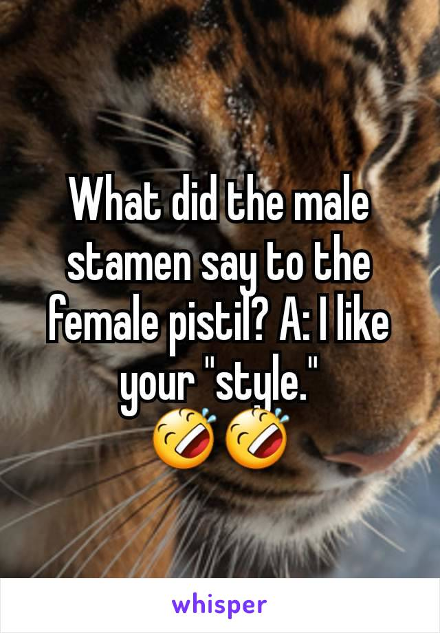 """What did the male stamen say to the female pistil? A: I like your """"style."""" 🤣🤣"""