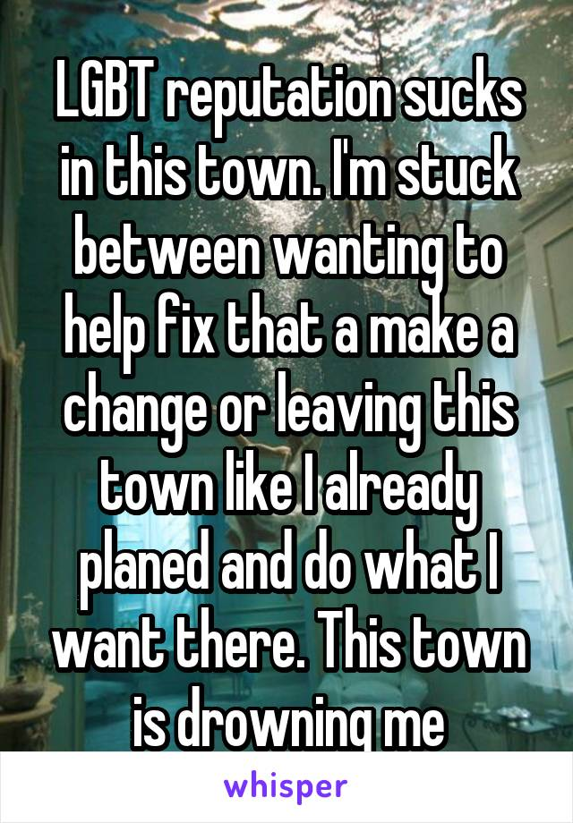 LGBT reputation sucks in this town. I'm stuck between wanting to help fix that a make a change or leaving this town like I already planed and do what I want there. This town is drowning me