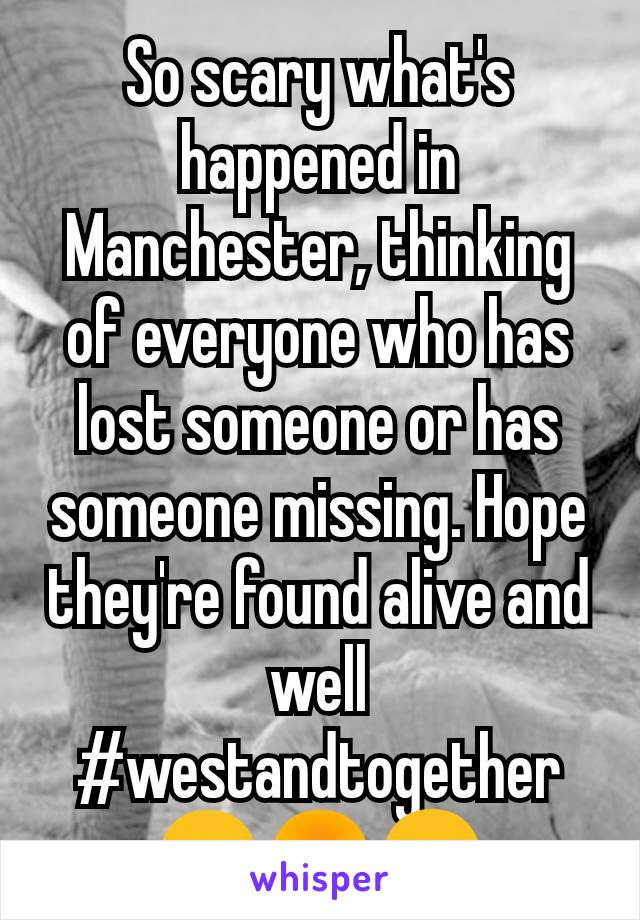 So scary what's happened in Manchester, thinking of everyone who has lost someone or has someone missing. Hope they're found alive and well #westandtogether 🙁😡😠