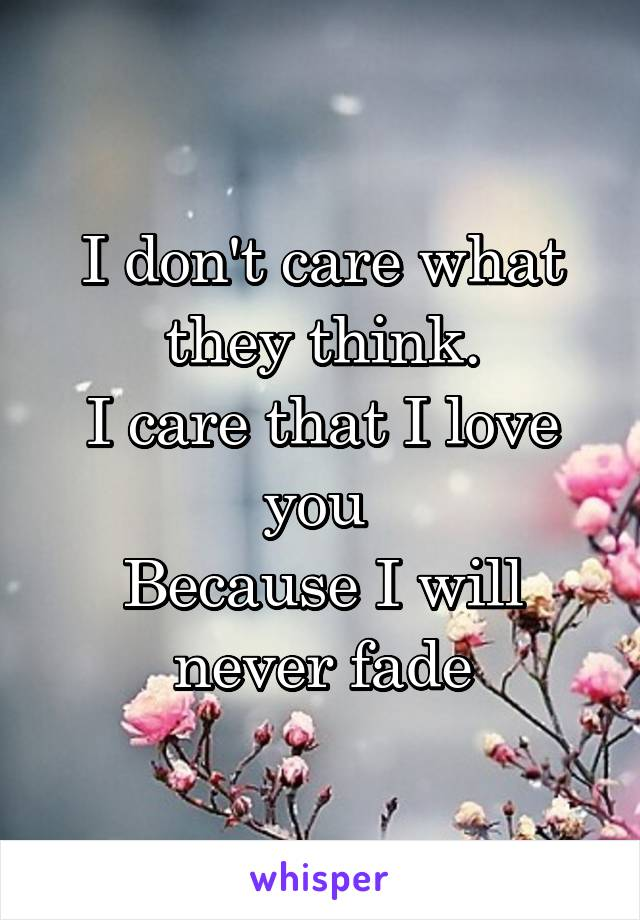 I don't care what they think. I care that I love you  Because I will never fade